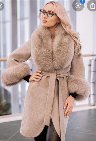 Paltoane din lână Alpaca/ blană vulpe