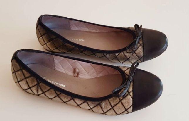 Balerini , pantofi piele naturala marimea 39, auriu cu negru