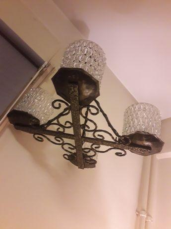 Lampa fier cu 4 brate, vintage