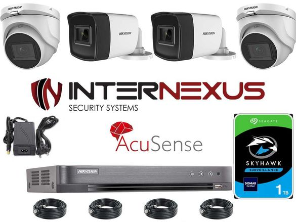 5 MPx AcuSense HD-TVI Система за Видеонаблюдение Hikvision