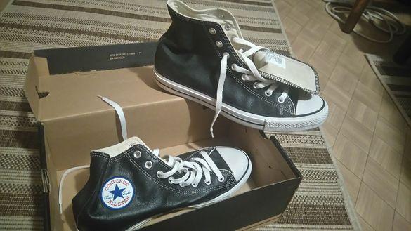 Черни кожени кецове Converse