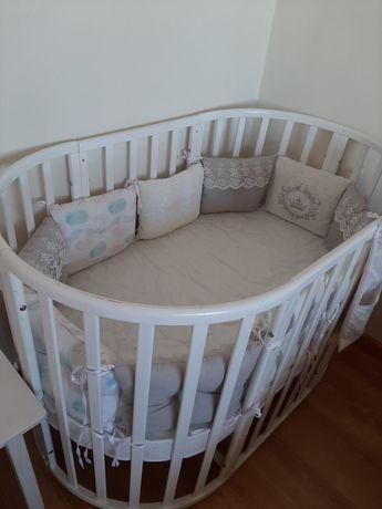 Продам детскую кровать 7 в 1. Есть балдахин, подушки-бортики
