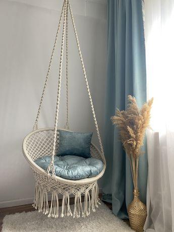 Подвесное кресло качели, шатер и колыбель в стиле макраме