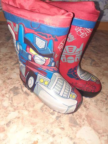 Детская обувь резиновые сапожки утеплённые