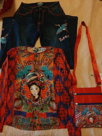 Blugi+bluză+geantă Rosalita Senoritas, măr. 10-11 ani, noi,cu etichetă
