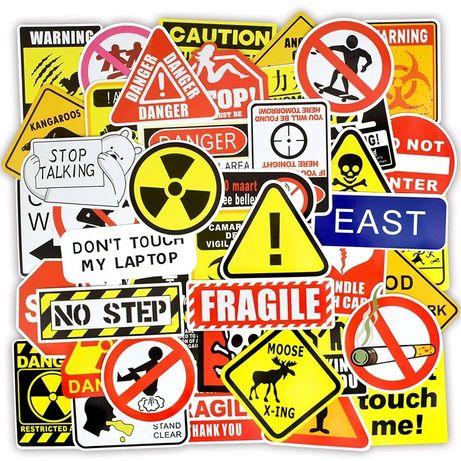 45x.Предупредителни стикери/Warning signs(лаптопи,коли,PS4,PS5,куфари)