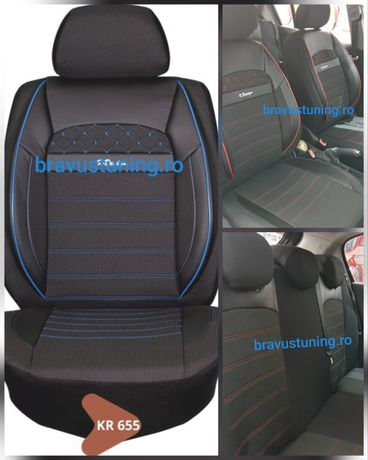 Huse scaun auto Stofa Negru+Albastru universale