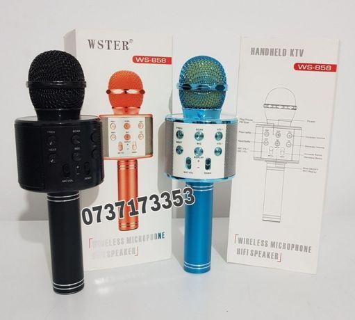 Microfon WS-858,wireless,karaoke,boxe,bluetooth,diverse culori