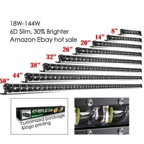 Led bar auto 6 D, black, dimensiuni pana la 127 cm