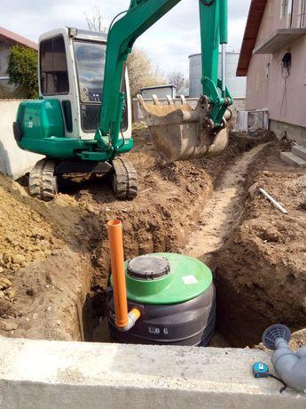 Montaj fosa septica Buldoexcavator Sapatura fundatie Piscina iazuri