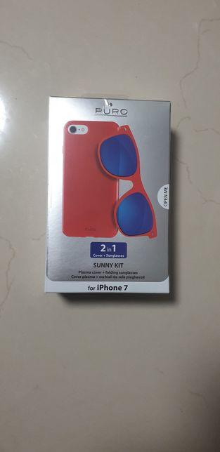 Husa telefon Iphone 7 si ochelari de soare -SET