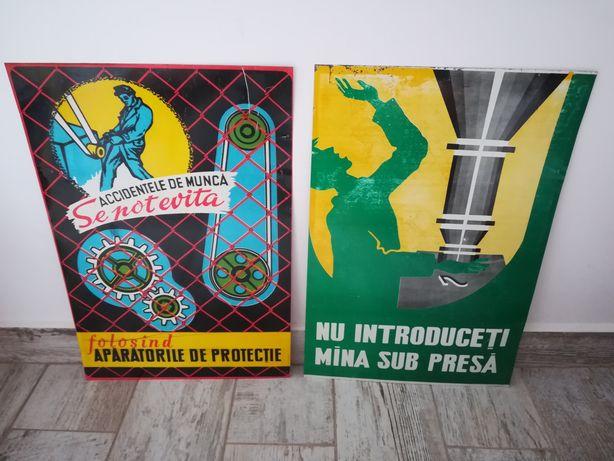 Lot 2 Afișe, reclame vechi din tabla de protecția muncii,per comunista