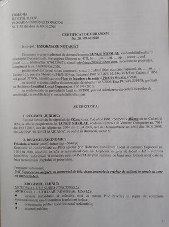 Teren Intravilan C-tii Loturi in Localitatea Copaceni Judetul Ilfov