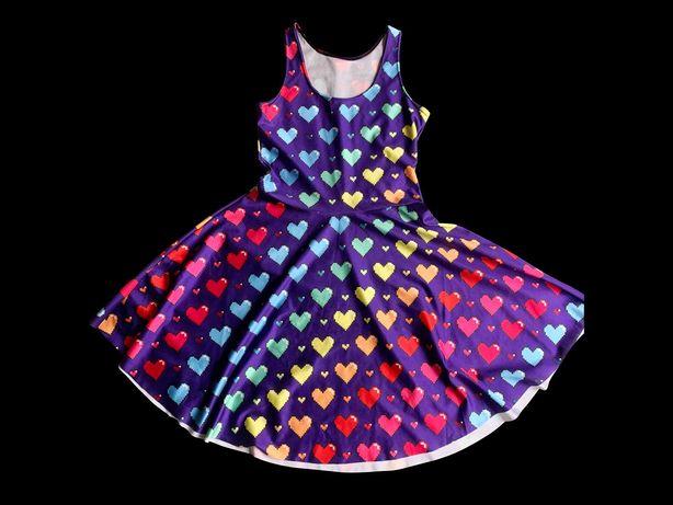 Платье с пиксельными сердечками (S)