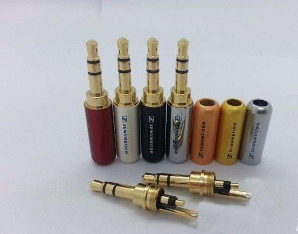 Stereo Jack позлатен 3.5mm за запояване за слушалки различни цветНалич