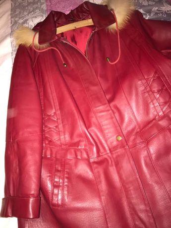 Haina piele naturala marime 48 rosie