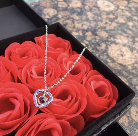 Подарок девушке,жене. Шкатулка,розы,цепочка из серебра,кулон,бокс пода