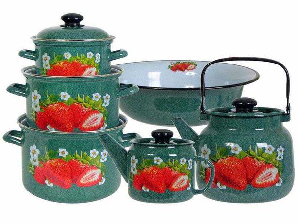 Набор посуды Лысьвенские эмали Сочная клубника Белый / Изумруд