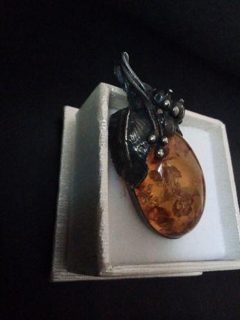 Стар турски сребърен пръстен с кехлибар/Винтидж сребърен медалцц