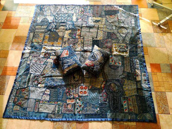 Ръчно изработен Patchwork (Пачуърк) покривало за легло/пано за стена
