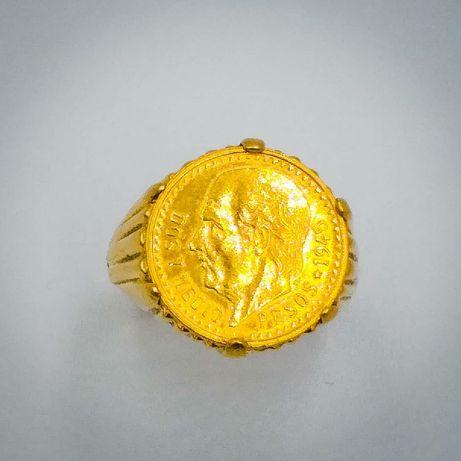 Inel din aur de 19.5 k cu moneda din aur de 22k