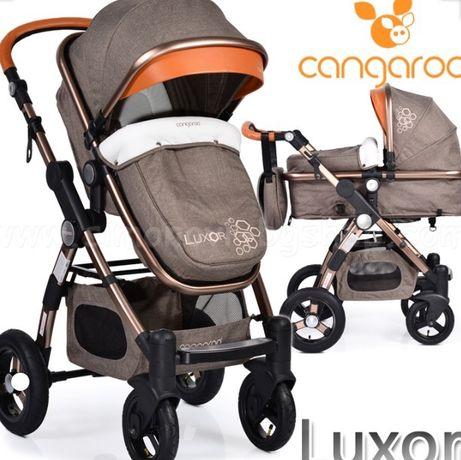 CANGAROO Комбинирана количка LUXOR AIR БЕЖОВ/златна рама+стол за кола