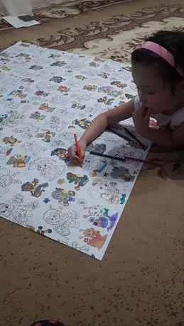 Скатерт раскраска многоразовая