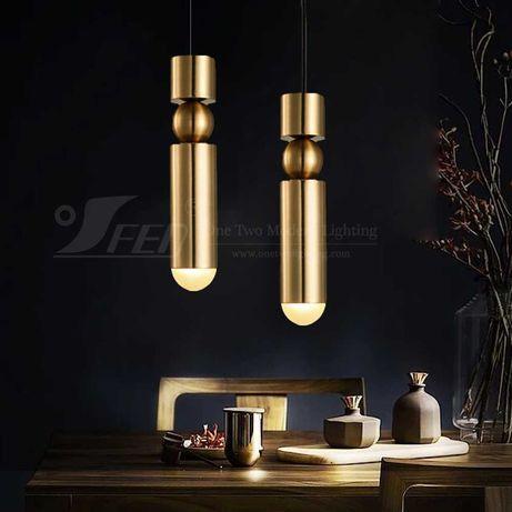 2 броя Gold Pendant Light Златни Висящи Лампи Tom Dixon Fulcrum
