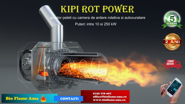 Arzator peleti si agropeleti cu autocuratare KIPI ROT POWER