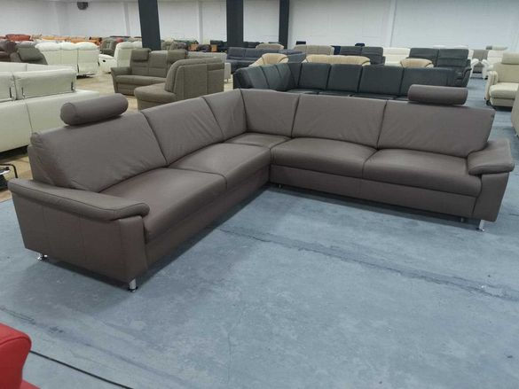 """Кожен ъглов диван с механизъм легло цвят Мока """"Vito Spring"""""""