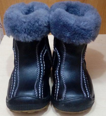 Продам зимние кожаные сапоги с натуральным мехом по стельке 12 см