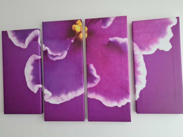 Пано от 4 свързани картини - лилаво цвете