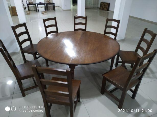 Masa + 4/8 scaune lemn masiv