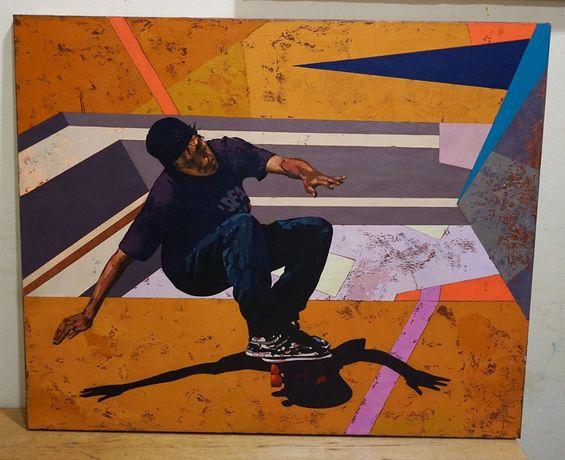 Авторска картина маслени бои платно рамка скейтбордист