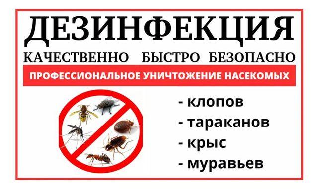 ДЕЗИНФЕКЦИЯ уничтожение ,клопов,муравьев,тараканов,,крыс,клещей,!