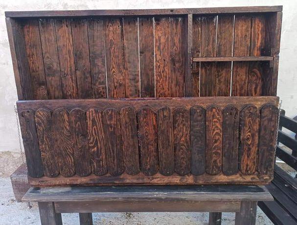 Mini bar vintage din lemn masiv