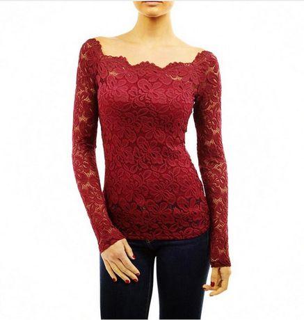 Дамска дантелена пролетна блуза Риза Блузка с къс дълъг ръкав горнище