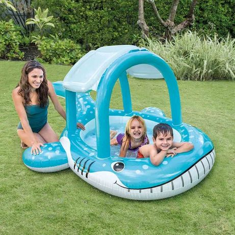 Piscina Gonflabila cu Protectie Solara Copii Intex Whale Shade Pool
