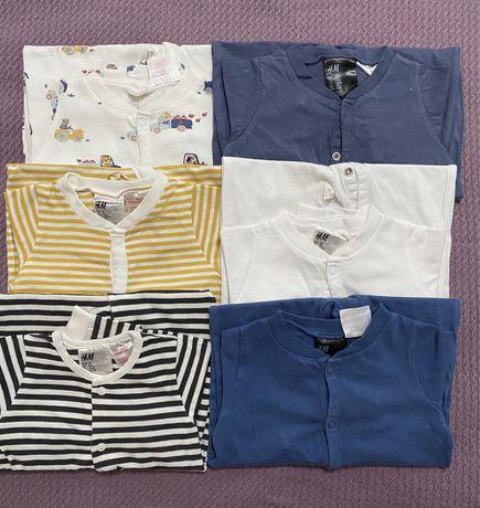H&M - Lot 12 pijamaluțe cu capse - mărimea 68
