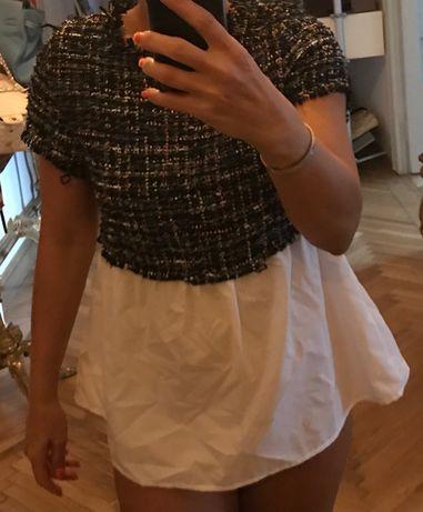 Top Zara din bumbac și textil împletit