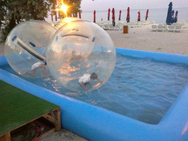Pachet Piscina cu 5 bile de mers pe apa(baloane pe apa) si pompe