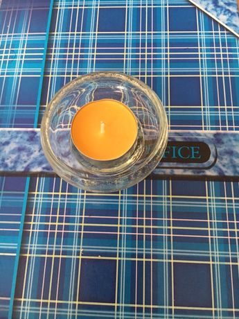 Свещник, стъклена чашка за чаени свещи