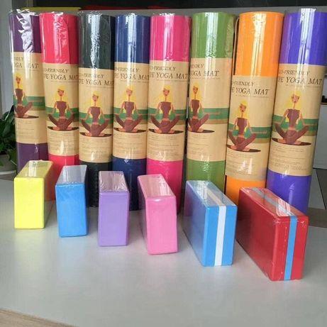 фитнес набор резинка блоки коврик для йоги каремат валик ролл резинки