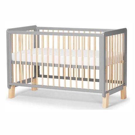 Детская кроватка Kinderkraft с матрасом LUNKY  белая, серая