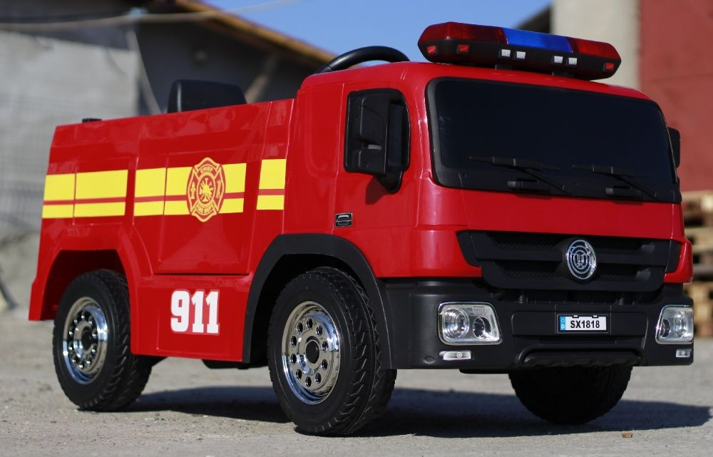 Masinuta electrica de pompieri cu 2x35W 12V si Acceorii Pompier #Red Baia Mare - imagine 1