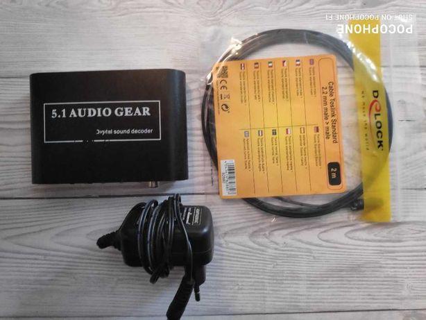 Audio Convertor Digital la analog 5.1-Channel 3 jack 3.5mm