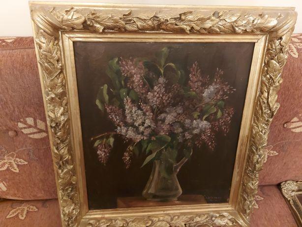 Tablou Flori de Liliac, pictura în ulei pe panza