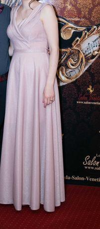 Rochie ocazie roz pal cu sclipici