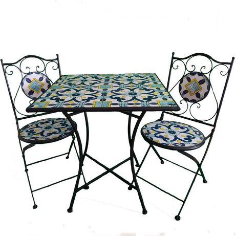 Set Masa si 2 Scaune Mozaic, Cadru Fier, Ceramica, Pliabile