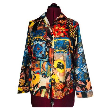 Новая женская блуза в стиле 90-х яркая рубашка 44-46-48 размер L